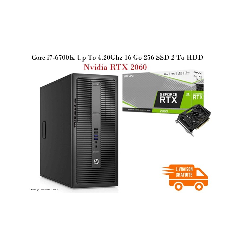 Hp Elitedesk 800 G2 Core i7-6700 Up to 4GHz 8Go 256SSD 500HDD RTX 2060
