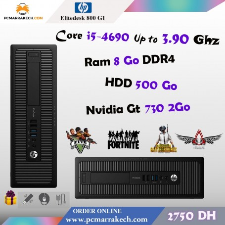 Hp Elitedesk 800 G1 Core i5-4690 Up to 3.90Ghz 8Go 500 Go Gt 730
